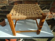 Vintage Wooden Stool with Woven Cord Top