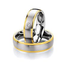 585er Gold & Stahl +Brillant Trauringe Eheringe Verlobungsringe kostenl. Gravur
