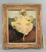 1958 ANTHONY TRIANO Expressionist Woman Dancer Portrait O/C OIl Painting, NR