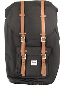 Herschel Supply Co. Black Canvas 'Little America' Backpack With Brown Straps 25L