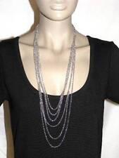 $28 Nordstrom Multi-Strand 6-Layer Graduated Chain Silvertone Necklace