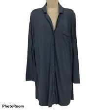 Victoria's Secret Blue Long Sleeve Shirt NightGown Pajama Viscose Medium