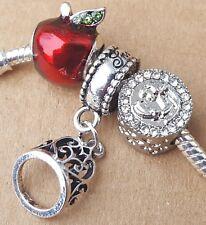 Disney Snow White Tiara Love First Kiss Prince Poison Apple European Bead Charms