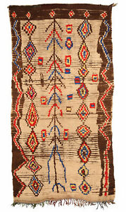 Tribal Moroccan Rug in Cream, Brown, Red, Yellow, and Blue BB5140