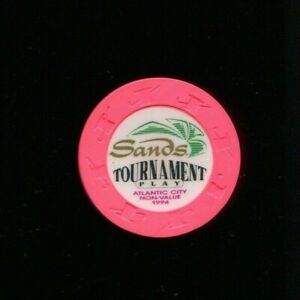 Tournament Chip from the Sands Casino, Atlantic City NJ (Hot Pink Oversized)
