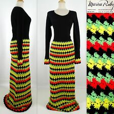 Vtg MARISA RUBY Maxi Dress Gown S Wool Knit Crochet Black Multi Heavy Mexico