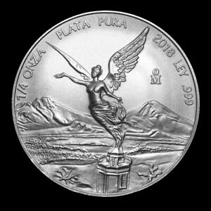 2018 1/4 oz Mexican Libertad .999 Fine Silver Coin from Mint Roll #1