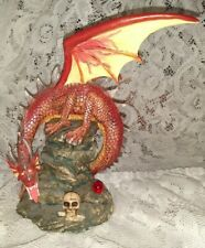 Red Fire Dragon Figurine Mythical Fantasy w/ Skull & Magical Red Crystal Ball