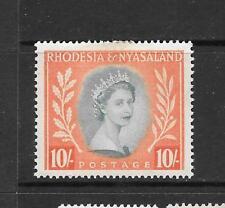 1954 Queen Elizabeth II SG14 10s. Turquoise & Orange Mint H RHODESIA & NYASALAND