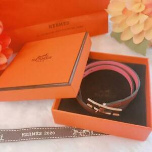 HERMES Leather Bangle Bracelet Accessory Brown and Pink color 81200