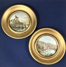 Vintage Pair (Set of 2) Round Gold Small Wood Framed Prints of EUROPEAN CASTLES