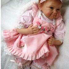 "22"" Handmade Lifelike Baby Girl Doll Silicone Vinyl Reborn Baby Newborn Gift HYM"