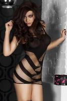 Mini robe noire érotique très sexy ouverte transparente résille libertine trouée