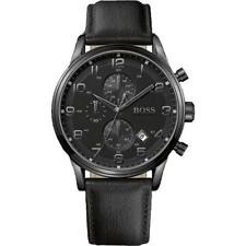 Hugo Boss HB1512567 Aeroliner Mens Chronograph Watch Black Leather Strap