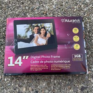 "Aluratek 14"" Digital Photo Frame ADMPF114F w/2GB Memory Built-in and RemoteNew"