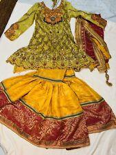 Bridal Indian Pakistani Mehndi Heavy Detailed Work Wedding Dress Sharara Gharara