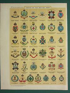 1920 PRINT ~ REGIMENTAL CRESTS OF BRITISH ARMY NORTH LANCASHIRE VOLUNTEERS etc