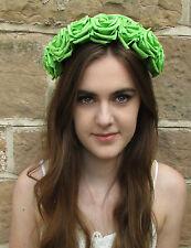 Grand Vert Fleur Rose Cheveux Couronne Bandeau Tête De Mort Calavera Vintage
