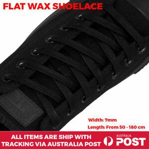 Black Shoelace Wax Flat Bootlace Nike Dr Martin Adidas Converse Reebok Puma 7mm