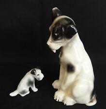 2 chiens ancien en porcelaine et faïence / geo michel / pfeffer gotha porcelain
