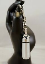 Silver Heart Brushed Silver ANOINTING OIL HOLDER on Stainless Swivel Keychain