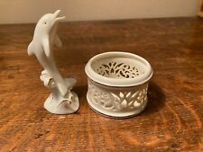 """Lenox Ivory Porcelain Dolphin 4in & trinket box with 24kt Gold Accents 4"""" tall"""