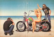 "1988 Vintage David Mann ""Photo Bomb"" 16 x 20 Matted Motorcycle Biker Art"