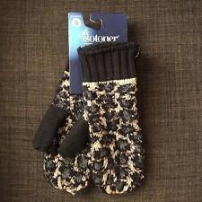 NWT Women's isotoner Mittens 1 Size - Black Leopard Print Gloves