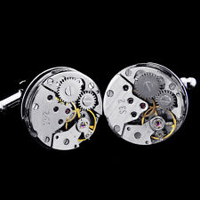 Watch Movement Men's Cufflinks Steampunk Vintage Wedding Silver CUFF LINKS Gift