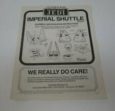 1984 Imperial Shuttle STAR WARS Vintage Original INSTRUCTIONS Sheet