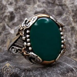 Mens Sword Silver Natural Protection Ring Green Agate Aqeeq Gemstone Groom Gift