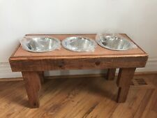 Elevated Pallet Dog Bowl Stand Pet Feeding Station Large Dogs 3 Bowls Included