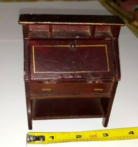 VINTAGE ANTIQUE OLD GOTTSCHALK GERMAN PAINTED WOODEN DOLLHOUSE DESK FURNITURE