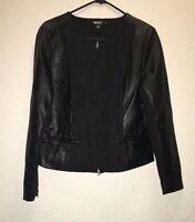 DKNY Leather COLARLESS JACKET BLACK SZ 10 NEW $399