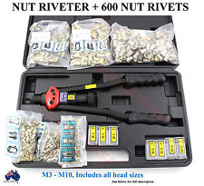 NUT RIVET GUN + 600 NUT RIVETS PATENTED TRADE QUALITY TOOLS SHOCK PROOF SPECIAL