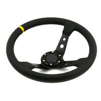 350mm Deep Dish Steering Wheel 6 Bolt PVC Leather fits OMP SPARCO HUB