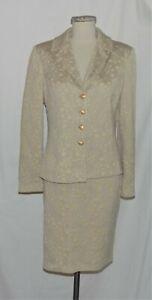 St John Tan Floral-Jacquard Shimmer Knit Button Front Jacket & Skirt Suit 6/4
