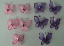 5 PCS  3 X 2.8 CM'S PURPLE OR PINK WIRE STOCKING CRYSTAL BUTTERFLIES CRAFT/CARDS
