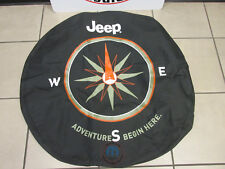 "JEEP WRANGLER ""The Adventure Begins Here"" Logo Spare Tire Cover NEW OEM MOPAR"