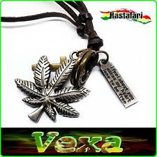 RASTA Necklace Pendant Ganja Cannabis Cross Rings Plate Leather strap surf NK11