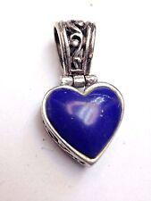 Lapis Heart Sterling Silver Swirling Filigree Pendant Slide