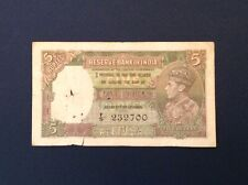 ~British India Five 5 Rupees 1937 Series Banknote George Vi P 18a - J.B. Taylor
