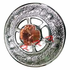 "Ladies Brooch kilt Fly Plaid Sash Thistle Design with Peach Stone 2"" (5.08cm)"