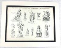 1897 Antico Stampa Antico Greco Statue Eros Psiche Aphrodite God Divinità