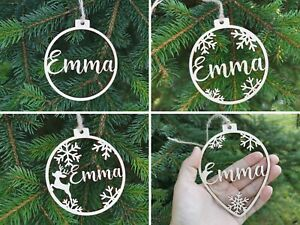 Custom CHRISTMAS baubles ornaments, Wooden hanging PERSONALISED gift for Mom C12
