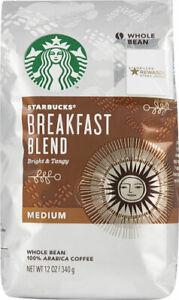 Starbucks Medium Breakfast Blend 100% Arabica Whole Bean Coffee 12oz