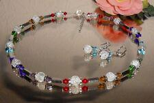 FUNKELNDES 2er Schmuck SET / Crackle GLAS Perlen + Glas Rhomben in bunt ML 51 cm