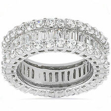 Round & Baguette Diamond Ring 18k White Gold Eternity Band Sz 8, F Vs 4.80 tcw