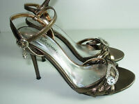 WOMENS BRONZE BROWN RHINESTONE ANKLE STRAP SANDALS HEELS SHOES SIZE 6.5 M
