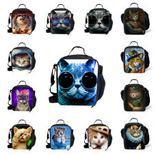 Cool Blue Cat Insulated Lunch Box Tote Travel Outdoor Cooler Thermal Container